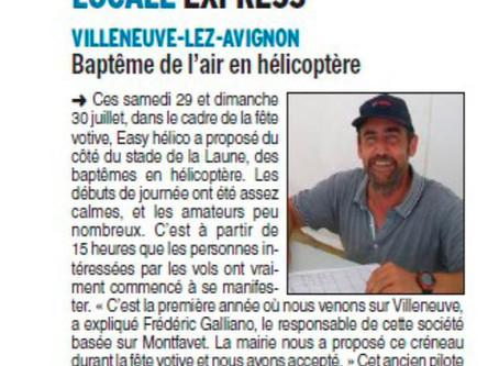 Vaucluse Matin 01/08/2017 - baptême de l'air en hélicoptère