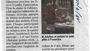 Midi Libre 18/07/2018 - Écrire en pleine nature