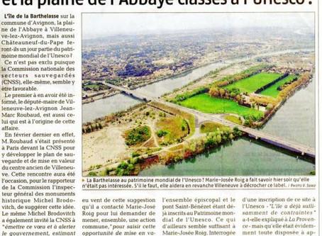 La Provence 09/09/2008 - La plaine de l'Abbaye classée à l'UNESCO ?