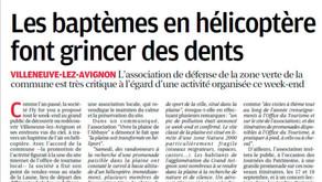 La Provence 29/08/2016 - Les baptèmes en hélicoptère font grincer des dents