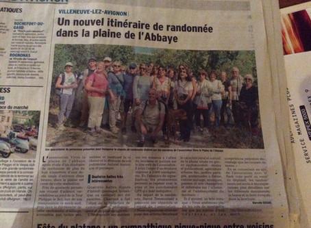 Vaucluse Matin 20/09/2016 - Un nouvel itinéraire de randonnée dans la Plaine de l'Abbaye