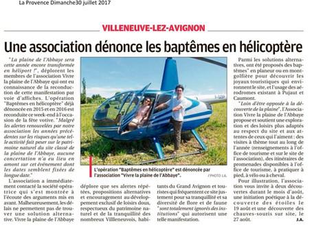 La Provence 30/07/2017 - Une association dénonce les baptêmes en hélicoptère