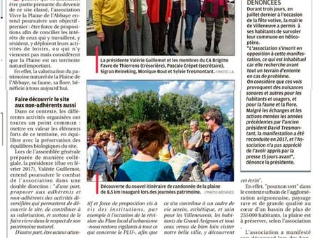 La Provence 05/02/2018 - L'association au chevet de la Plaine de l'Abbaye