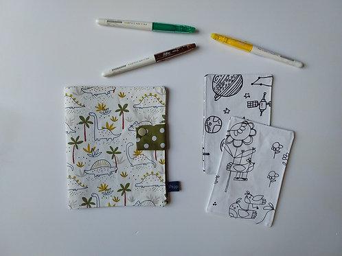 Pochette et cartes à colorier Dino