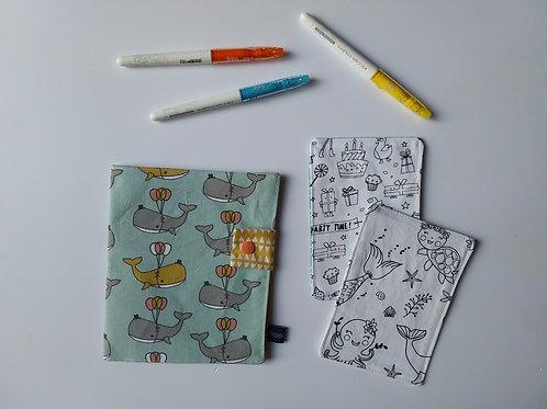 Pochette et cartes à colorier Baleine