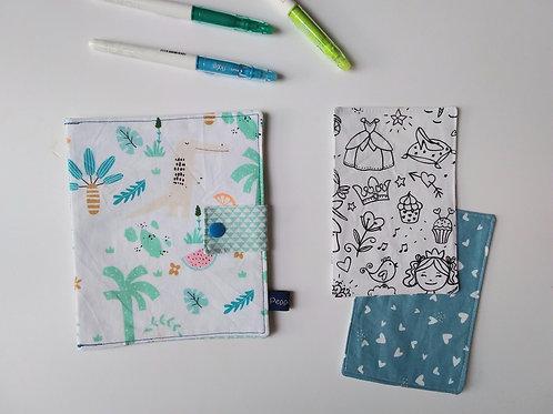 Pochette et cartes à colorier Exotique