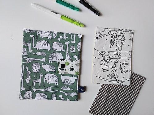 Pochette et cartes à colorier Animaux/Pois