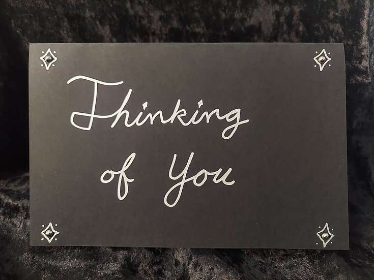 Handmade Black & Silver Greeting Card - Thinking of You