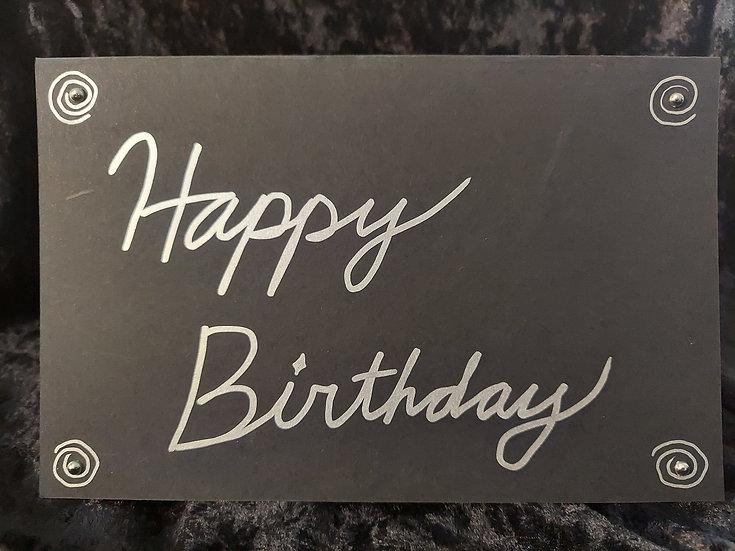 Handmade Black & Silver Greeting Card - Happy Birthday