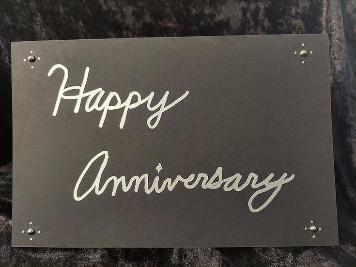 Handmade Black & Silver Greeting Card - Happy Anniversary