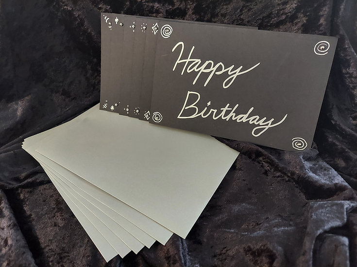 Handmade Black and Silver Greeting Card - Classic Variety Pack of 6