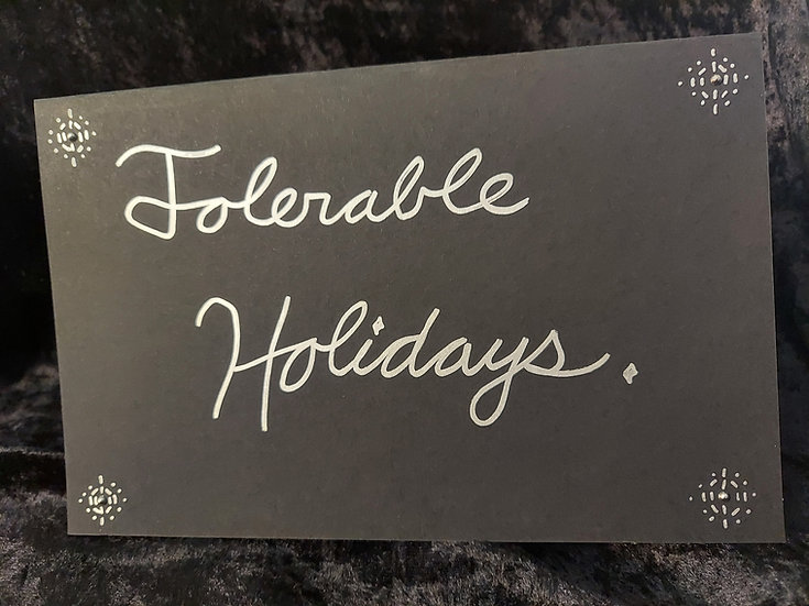 5-Pack of Handmade Black & Silver Greeting Card - Tolerable Holidays