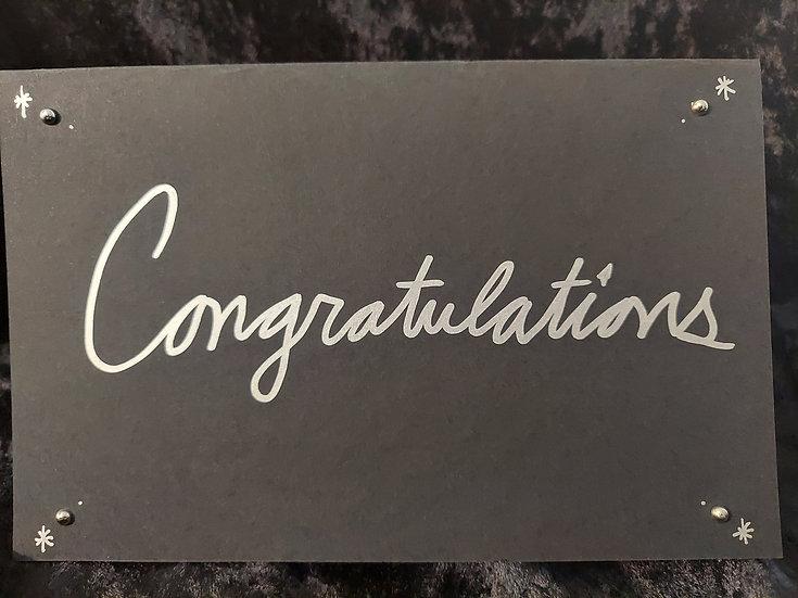 Handmade Black & Silver Greeting Card - Congratulations