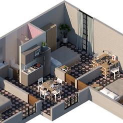 Habitación sencilla en departamento