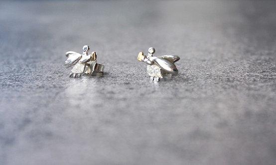 Engelohrstecker Silber mit Goldherz