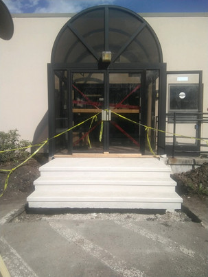 The new stairs that have been built at the entrance of our program spaces.
