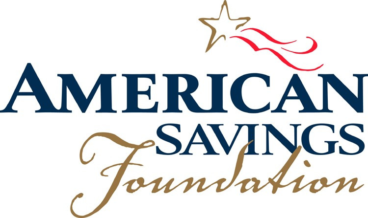 American Savings Foundation Logo. American Savings is written in navy blue letters and Foundation is written in a gold script below. There is a gold star with red tails above the name.
