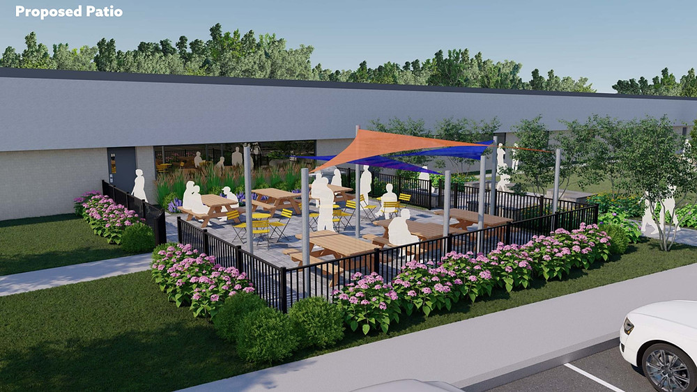 An architectural drawing of people gathered in a seating area off of a building. It has an orange and blue tent covering. The patio is  surrounded by a fence and pink flowers.