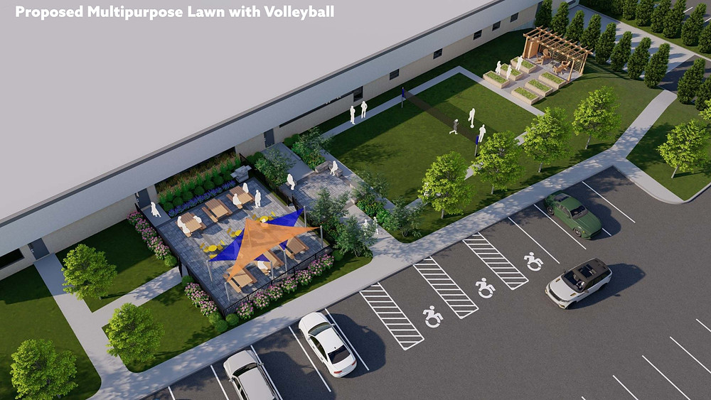 An overhead view of an architectural drawing, with a parking lot, seating area with tent coverage, a grassy green where people are seen playing volleyball, and a garden bed area with a pergola for sitting.