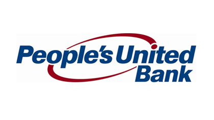People's United Bank Logo. People's United Bank is written in navy blue letters and there is a maroon circle in the middle, behind the letters.