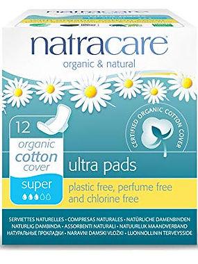 Natracare plastic free, perfume free & chlorine free organic cotton menstrual pads