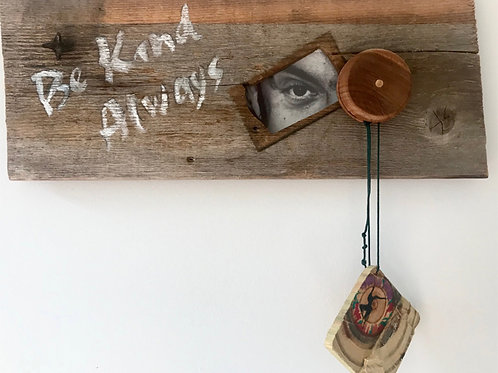 """Eye See a Yo-Yo"" SOLD Original Mixed Media And Rustic Wood Wall Hanging OAK"