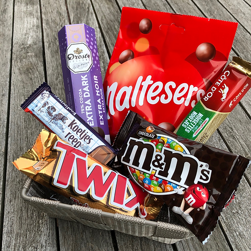Geschenkmand 'budget' chocolade
