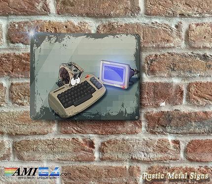 Cartoon Commodore 64 Rustic Metal Sign