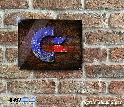 Rusticated Commodore Logo Printed on Metal Sign - Stunning
