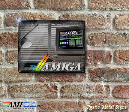 Distressed Looking AMIGA X-COPY Metal Sign