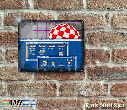 Distressed Looking AMIGA Workbench Metal Sign