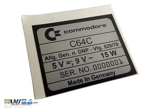 Commodore C64C C64 Serial Label No. 0000001