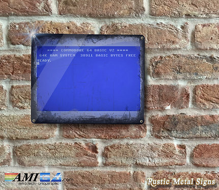 Distressed Looking Commodore 64 Metal Sign