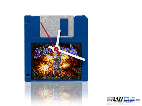 "Turrican logo on blue 3.5"" Disk Clock"