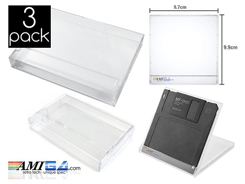 """single double cassette case amiga 3.5"""" disk case crystal clear"""