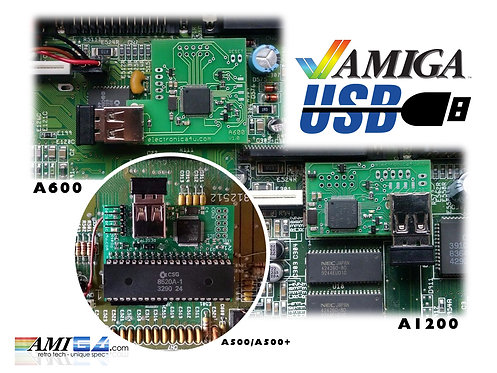 Amiga USB Keyboard Interface Adapter fitted in A600 A1200 A500