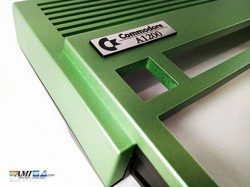 Sprayed Metallic Green Amiga 1200 close up of new badge