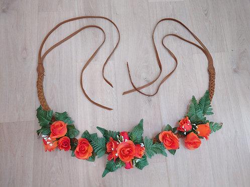Collier floral - Jardin orange