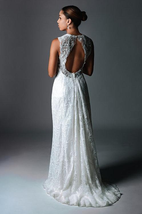 Robe de mariée/cocktail élégante et délicate - traine amovible - sequin motif pl