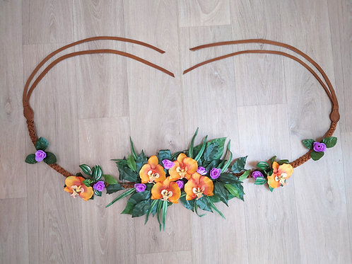 Collier floral - Exotique Orange