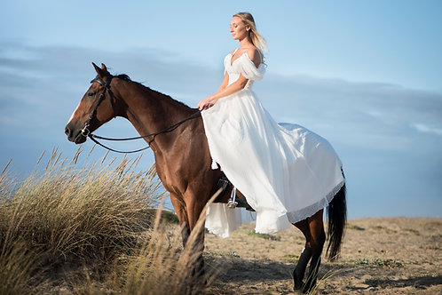 Robe de mariée Bohème - Bustier à bretelle - mousseline à pois
