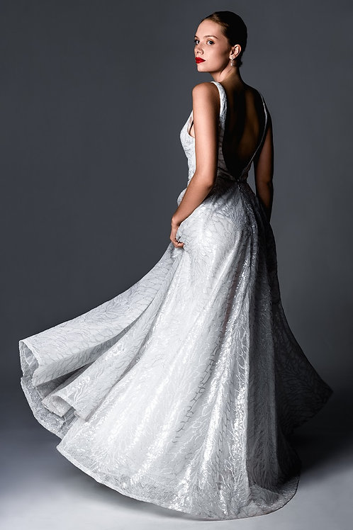 Robe de mariée/cocktail élégante - Décolleté plongeant et dos en V plongeant - s
