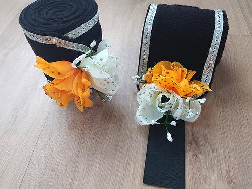 Bandes polaires de Spectacle (bande de polo) - Bouquet orange et blanc
