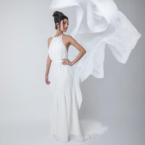 Robe de mariée Bohème - Dos nu - Dentelle et mousseline