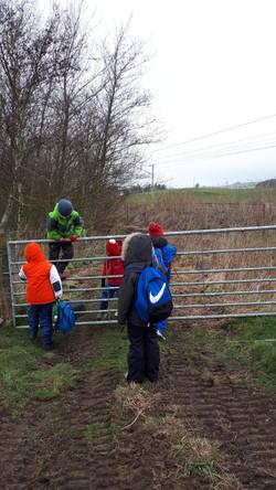 Climbing a gate