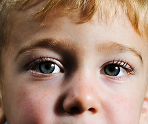 Close up of boy with blue eyes