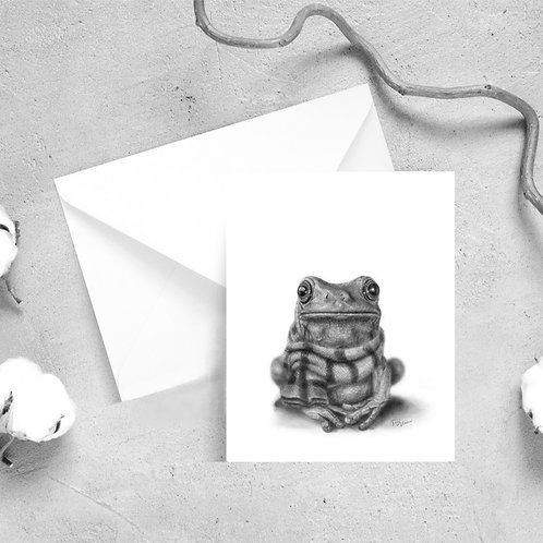 'Cold Frog' Satin Greeting Cards