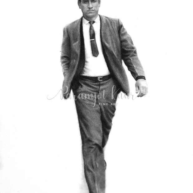 A realistic pencil drawing of of a man in a suit and tie walking