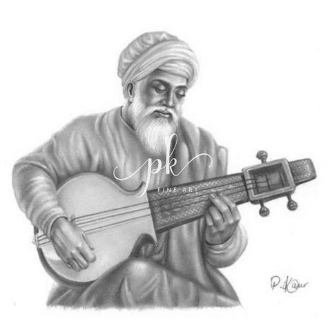 Drawing of Bhai Mardana Ji with the Rabab instrument