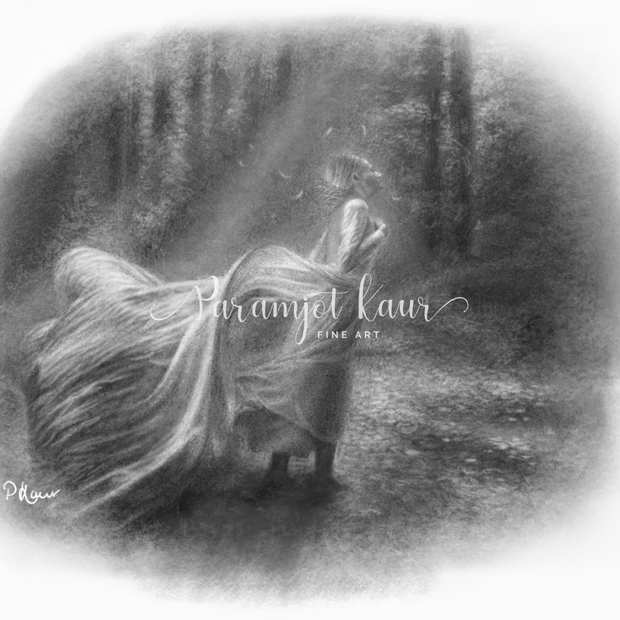 Drawing of a Sikh woman walking through the woods